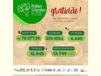 Campanha Bahia Solidária: do Sertão ao Litoral celebra e agradece as mobilizações e doações.