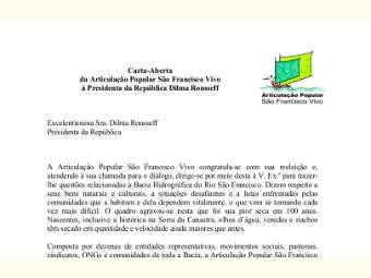 Articulação Popular São Francisco Vivo envia carta à presidenta Dilma Rousseff