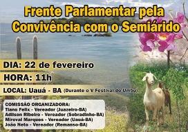 Frente Parlamentar pela Convivência com o Semiárido será lançada na Bahia
