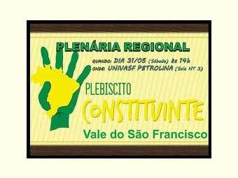 Plenária Regional do Plebiscito Popular pela reforma do Sistema Político será realizada neste sábado em Petrolina