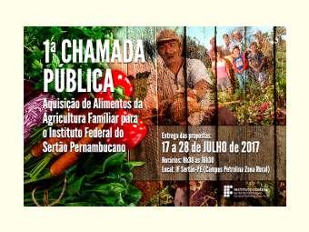 IF Sertão-PE realiza chamada pública para aquisição de alimentos da agricultura familiar