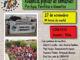 Dilma envia ministros a Juazeiro para firmar compromisso com os camponeses em audiência popular do Semiárido