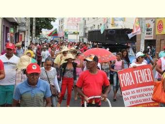 Ruas centrais de Juazeiro são ocupadas por trabalhadores/as que aderiram a greve geral