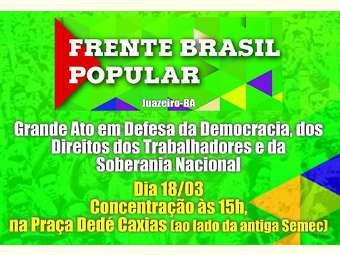Mobilização Nacional em defesa da democracia acontece hoje (18) em Juazeiro