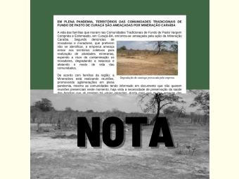 Nota - Em plena pandemia, territórios das comunidades tradicionais de fundo de pasto de Curaçá são ameaçadas por Mineração Caraíba