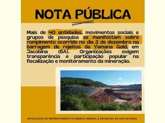 Nota da Articula��o de Enfrentamento ao Modelo Mineral e em Defesa da Vida na Bahia