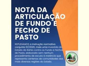 Articulação Estadual de Fundo e Fecho de Pasto lança nota pública