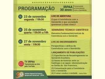 Programação dos 30 anos do Irpaa vai destacar principais linhas de atuação da instituição na construção da Convivência com o Semiárido